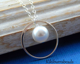 Pearl Necklace Simple Pearl Necklace Eternity Necklace Karma Necklace Sterling Silver