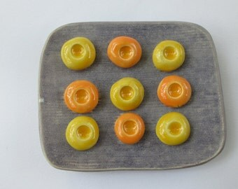 Purple Ceramic Soap Dish with Yellow and Orange Pod Soap Holders for a Small Soap