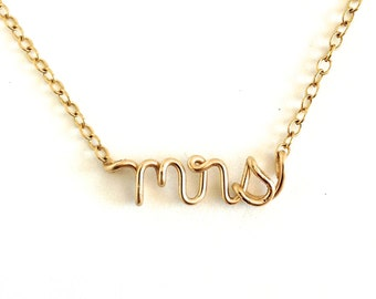 Gold Mrs Necklace. Mrs Name Necklace. Bridal wedding day necklace. Proposal Necklace. AzizaJewelry