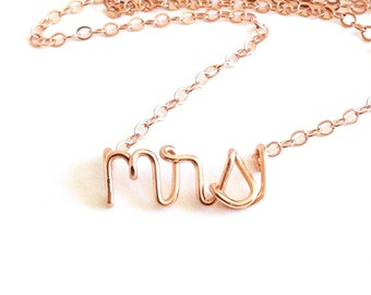Mrs Necklace. Wedding Day Necklace. Rose Gold mrs misses Name Necklace. Bridal Necklace.
