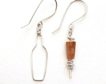Wine Jewelry. Cork Sterling Silver Earrings. Wine Lovers Jewelry