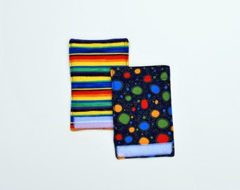 Luggage Handle Wraps set of two reversible Rainbow Raindrops traveler teacher gift Quiltsy Handmade