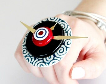 Summer Celebrations Clock Ring Ceramic - big ring, statement ring, statement jewelry, cocktail ring, Studioleanne