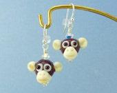 Monkey Earrings - Handmade Lampwork Bead Creation - SRA