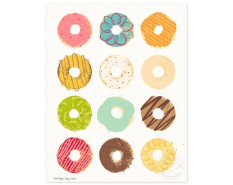 Go Nuts for Donuts Illustrated Art Print