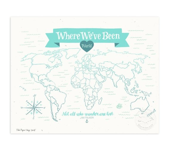 Where We've Been: World Map, Icy Blue Illustrated Art Print
