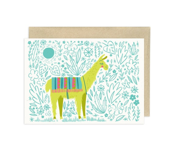 Put the Llama in the Coconut Illustrated Greeting Card