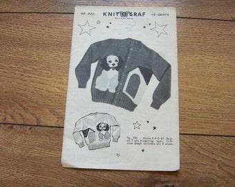 Vintage 1951 knit o graf  knitting pattern 930 PUPPY sz 4-6-8-10 cardigan girl boy
