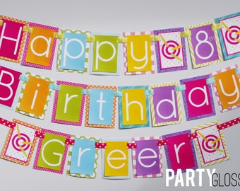 Girl Laser Tag Birthday Party Banner Decorations Fully Assembled - Girl Laser Tag Party - Lazer Tag Decorations - Girly Laser Tag Birthday