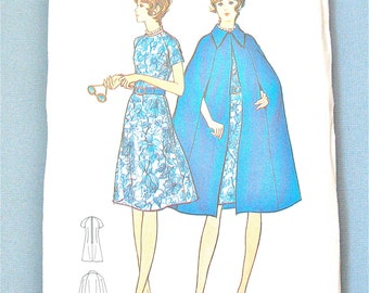 Uncut Early 70s Butterick 6091 Vintage Sewing Dress and Cape Pattern  Bust 37