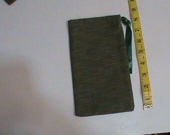 Dark Green Veragated Drawstring Pouch