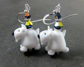 Scottish Terrier Earrings, Scotty Earrings, Dog Earrings, Puppy Earrings, Animal Earrings, Black White Lampwork Earrings, Gift for Pet Lover