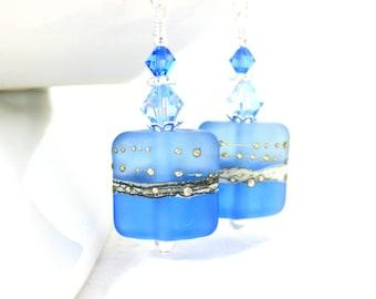 Sapphire Blue & Light Blue Dangle Earrings, Etched Glass Earrings, Rectangle Earrings, Azure Blue Lampwork Earrings, Summer Earrings  Modern