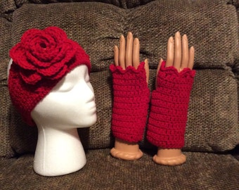 Crocheted Fingerless Gloves, ladies gloves, Teen Gloves with matching headband red gloves