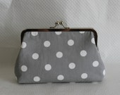 Bridesmaids Clutch - Polka Dot Clutch - Bridesmaids Gifts - Wedding Clutch - Gray and White Clutch - Dottie Clutch