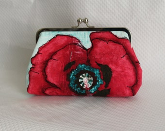 Floral Clutch - Bridesmaids Clutch - Wedding Clutch Purse - Bridesmaid Gifts - Red Floral Clutch - Poppy Clutch