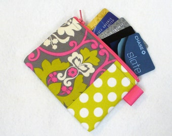 Clearance SALE Damask Polka Dot Fabric Business Card Case Coin Purse Zippered Credit Card Case Womens Wallet Gray Hot Pink Chartreuse Green