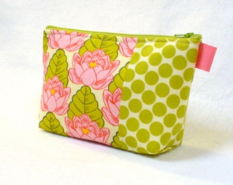 Amy Butler Floral Fabric Large Cosmetic Bag Zipper Pouch Padded Makeup Bag Cotton Zip Pouch Lily Pond Pink Lime Lotus