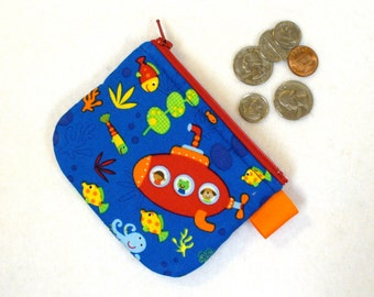 Boys Mini Coin Purse Zipper Change Purse Under the Sea Submarine Fish Octopus Colorful Fabric Wallet Handmade MTO