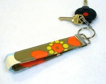 Wristlet Key Fob Amy Butler Fabric Key Fob Keyring Keychain Morning Glory Linen Cherry Red Blue Gray Mustard Floral Handmade MTO