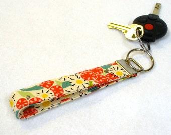 Wristlet Key Fob Key Ring Alexander Henry La Vie en Rose Henri Matisse Fabric Key Fob Keychain Daisy Red Floral