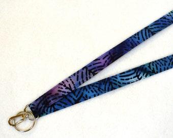 Fabric Lanyard Breakaway Lanyard ID Badge Holder ID Clip Key Ring Fob Batik Black Green Blue Purple