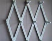 Vintage ~ Duck Egg Blue ~ Expandable Peg Rack ~ Cottage Organizer ~ Entryway Coat or Drying Rack