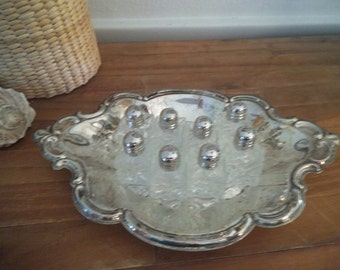 Ornate Silverplate Tray with 8 Small Glass and Silverplate Shakers ~ For Glitter Crafts OR Wedding table