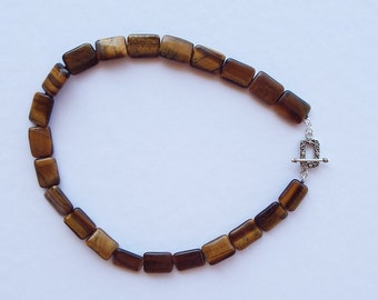 Tiger eye and sterling silver necklace