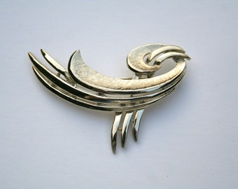 unusual shaped silver tone brooch vintage costume jewelry
