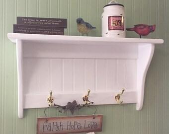 "Coat Rack Display Shelf Wood Wall Shelf Country Coat Rack 24"" Wide Brass Hooks White Key Holder"
