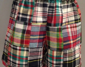 Boys madras shorts  Size 6mo to 5