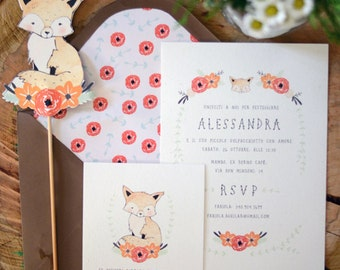 Fox and Blooms Baby Shower Invitation