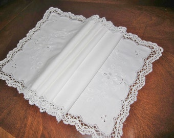 Vintage table runner, white work, hand made lace, cut work, hand embroidered,