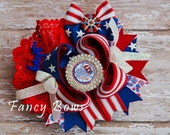 American sweet heart  Patriotic hair bow. Red white and blue hair bow. American flag hair bow.