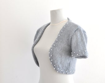 Exclusive Gray Beaded Wedding Cover Up Bridal Shrug Bolero Wedding Jacket Cardigan Grey Silver
