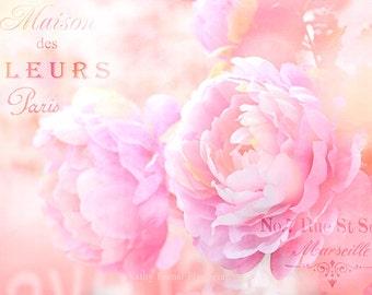 Paris Peonies Photography, Shabby Chic Dreamy Peonies, Pink Peonies Wall Art, Peonies Bathroom Decor, Paris Peonies, Baby Girl Nursery Decor