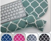 Keyboard and / or WRIST REST for MousePads  - trellis quaterfoil aqua, gray, pink, blue, black desk accessories coworker gift graduation