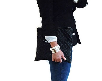 Quilted Black Faux Leather Foldover Zipper Clutch Large, Grey Canvas Interior, Purse, Carry All, Handmade, Tablet Case