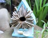 Driftwood Sunburst Mini Birdhouse , Coastal cottage Home Decor , Beach Decoration