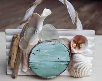 Seaside Mini Painting Fine Art , One of a Kind Driftwood & Shell Beach Home Decor