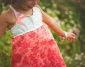 Girl's Dress - Strappy Dress - Birds and Coral Floral Print - Handmade on Maui, Hawaii USA - by bitty bambu