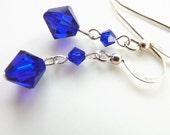 Cobalt Blue Swarovski Crystal Earrings in Sterling Silver