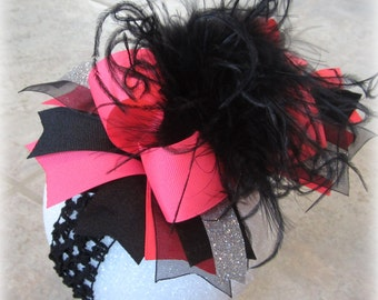 Neon pink hairbow, Neon hair Bow, Pink Over the Top hairbow, Neon Over the Top Hairbow, Girls hairbows, Large hair Bow, Big Hair Bows, Baby