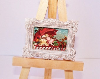 Painting, Christmas Decor, Miniature Picture, Wall Decor, Toys, Christmas Sleigh, Dollhouse Miniature, Home Decor, Colorful, Playroom Art