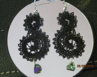 Embroidered Lace Paisley Earrings