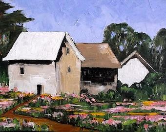 Impressionist Painting Original Lynne French Plein Air Landscape YARROW Garden Wildflower Farm Cottages  Art 16x20