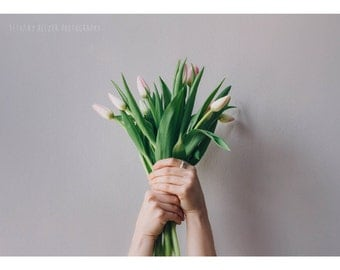 Bouquet, 5x7 Print, Whimsical Photography, Botanical Print, Flower Photography, Portrait Photography, Floral Print, Tulips, Spring
