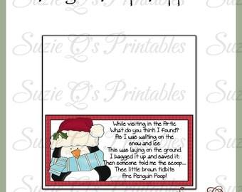 Penguin Poop Topper - NEW DESIGN - Digital Printable - Good Craft Show Seller - Immediate Download
