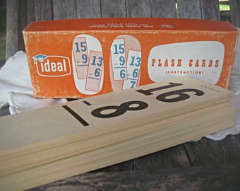 Box of vintage math cards, subtraction cards, math flash cards, Ideal flash cards subtraction math cards homeschool cards mixed media supply